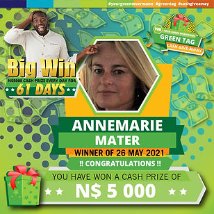 26 05 2021 Annemarie Mater Green Tag Win