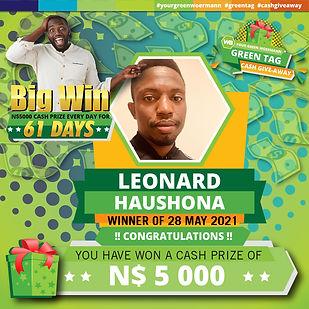 28 05 2021 Leonard Haushona Green Tag Wi