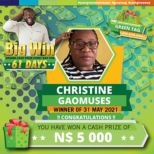 31 05 2021 Christine Goamuses Green Tag