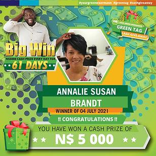 30 06  - 06 07 2021 Saarty Iambo Green Tag Winner Announcement 5000_Annalie Susan Brandt.j