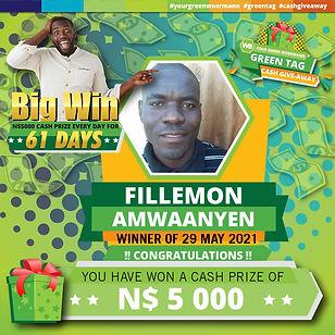 29 05 2021 Fillemon Amwaanyen Green Tag