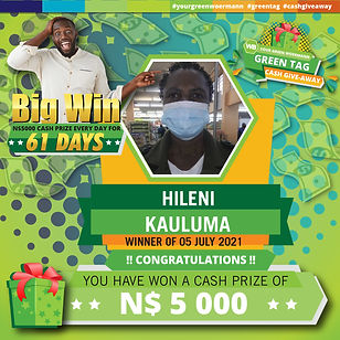 30 06  - 06 07 2021 Saarty Iambo Green Tag Winner Announcement 5000_Hileni Kauluma.jpg