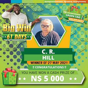 27 05 2021 C R Hill Green Tag Winner Ann