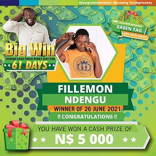 23 - 29 June 2021 Green Tag Winners Announcement Blocks 5000_Fillemon Ndengu 26 June 2021.