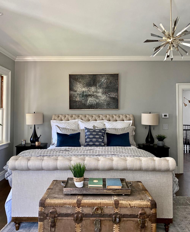 eclectic decor, sleigh bed, upholstered bed, sputnik chandelier, gray walls, white dove, original trim, crown molding