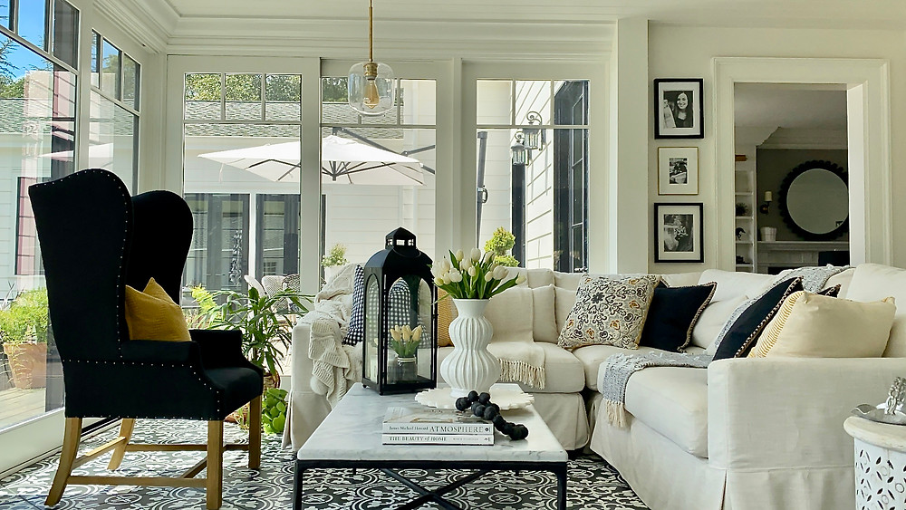 Beautiful light filled sunroom design by SSDesignHub at RockHavenFarm.
