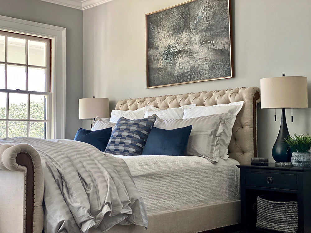 sleigh bed, tufted bed, upholstered beds, gray walls, white dove, black nightstands, furniture layouts, interior design, room decor