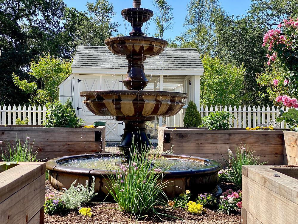 Chicken coops, Fountains, chicken coop design, backyard coops, parterre garden at Rock Haven Farm..