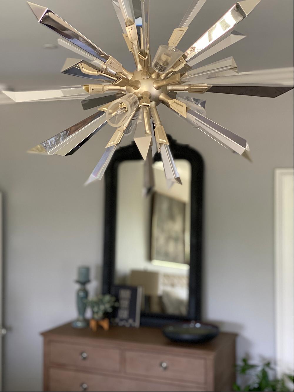 Sputnik chandelier, stainless and crystal chandelier
