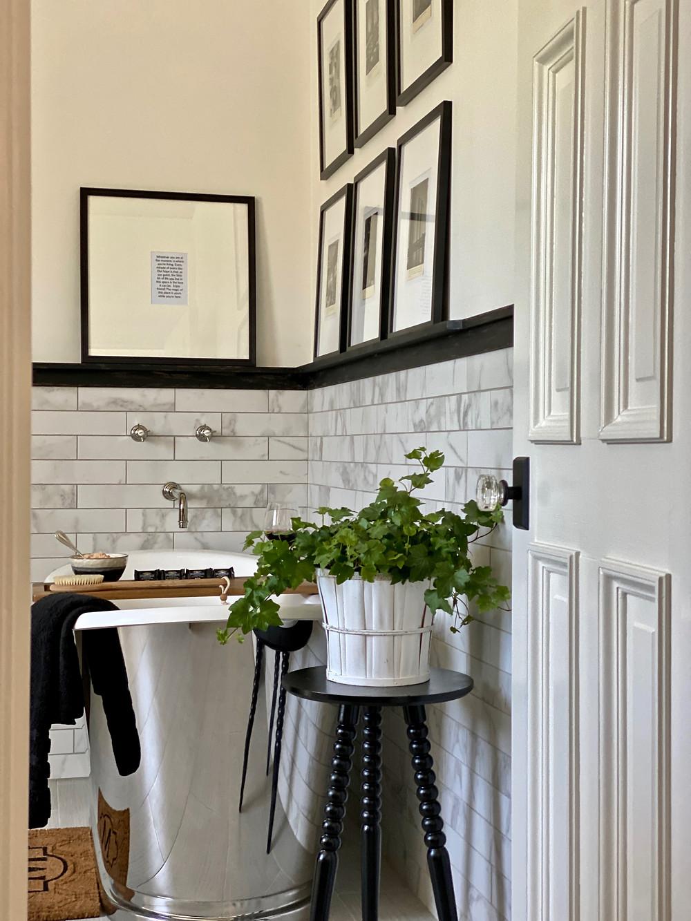 Stainless steel tub, black and white bathroom, spa bath,
