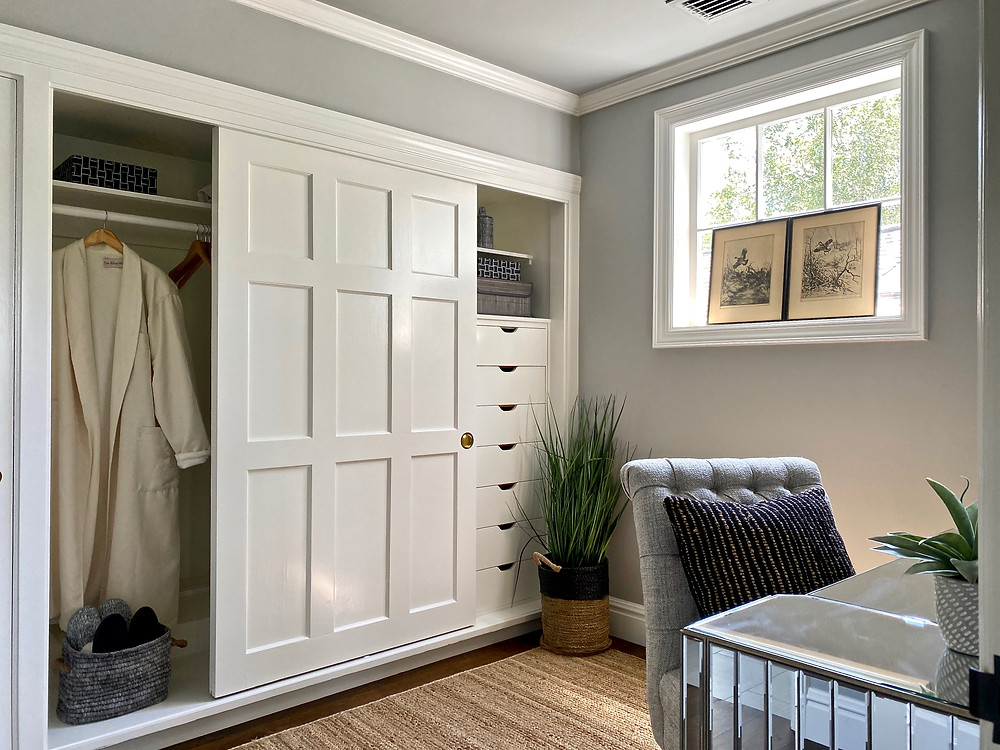 Dressing room, beautiful architecture, built-ins, grays walls, White Dove, dressing room design, charming spaces