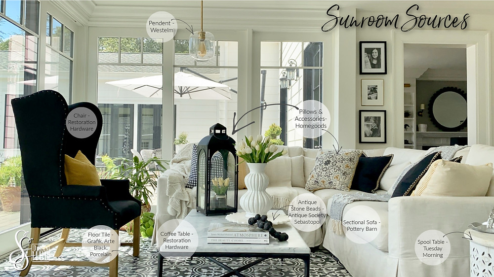 Sources for neutral color palette of sunroom by SSDesignHub at RockHavenFarm.com