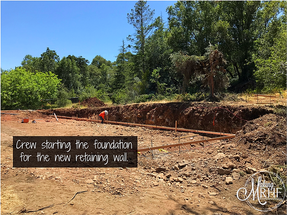 Home renovation - retaining wall foundation.