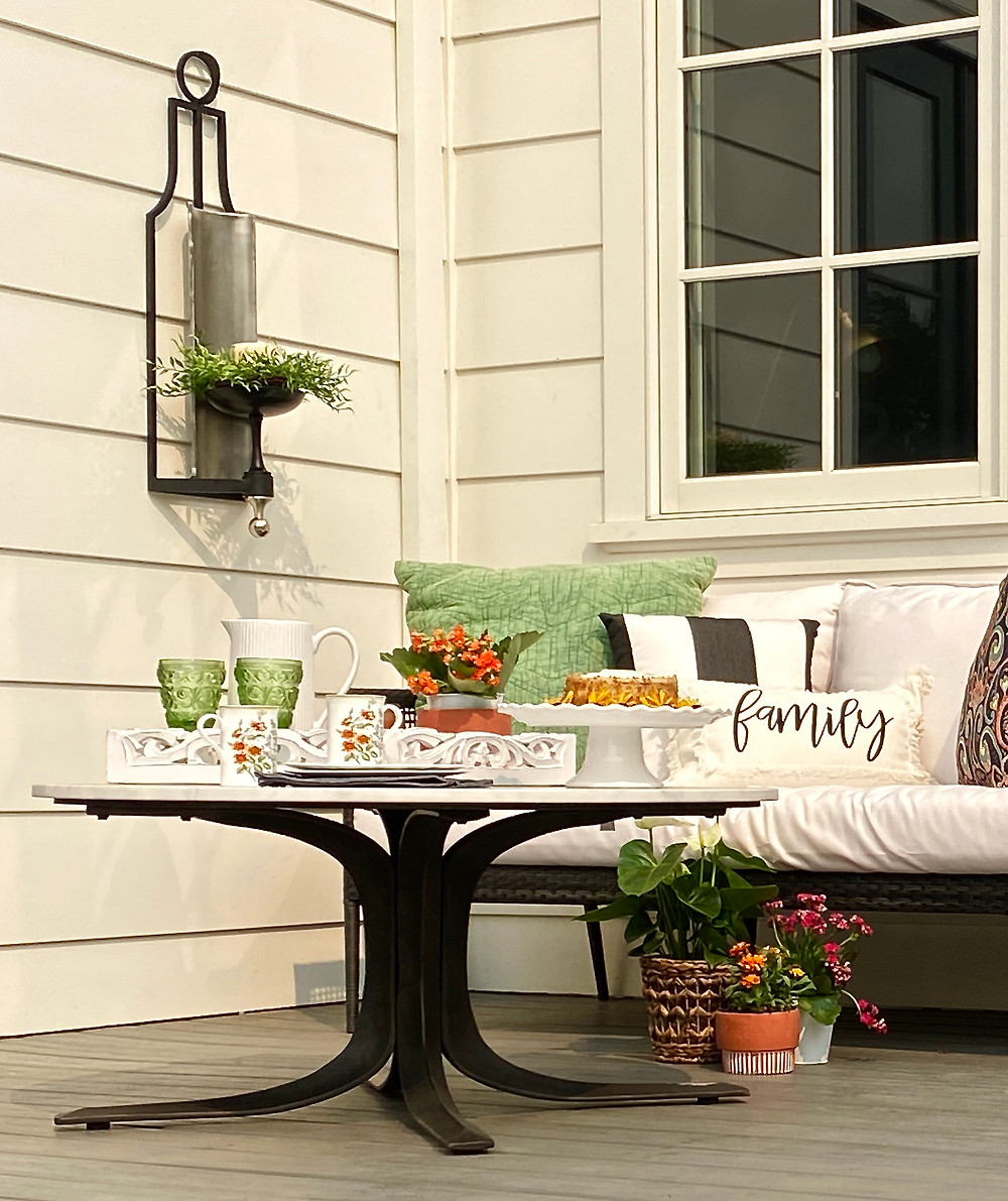 Outdoor seating area at RockHavenFarm.com styled for Fall.