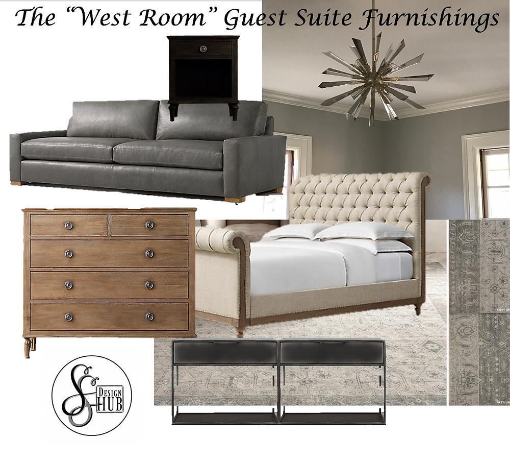 Mood board, interior design, furnishings specifications