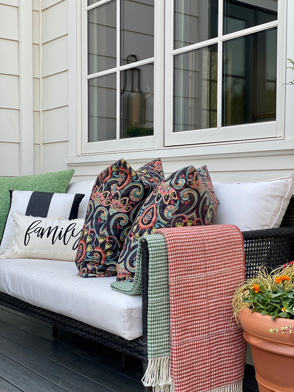 Outdoor seating area styled for Fall.