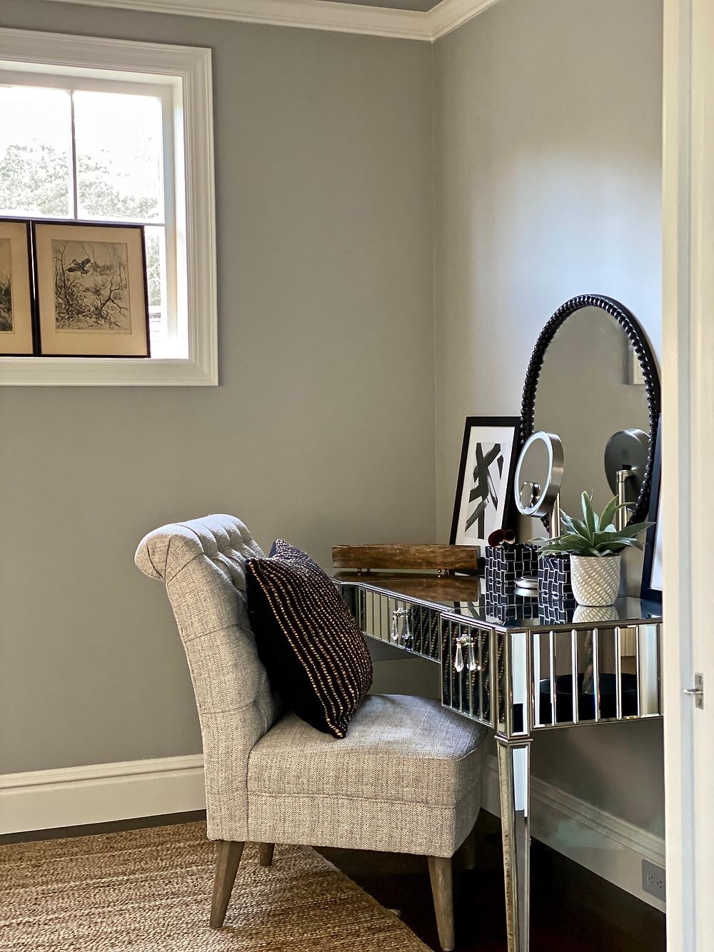 Dressing room, dressing room design, gray paint, hardwood floors, French oak floors, makeup vanity, mirrored vanity, spa retreat