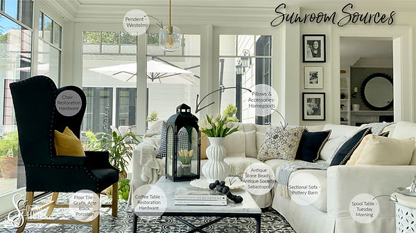 Sunroom decor and furnishings, design by SSDesignHub at RockHavenFarm.com