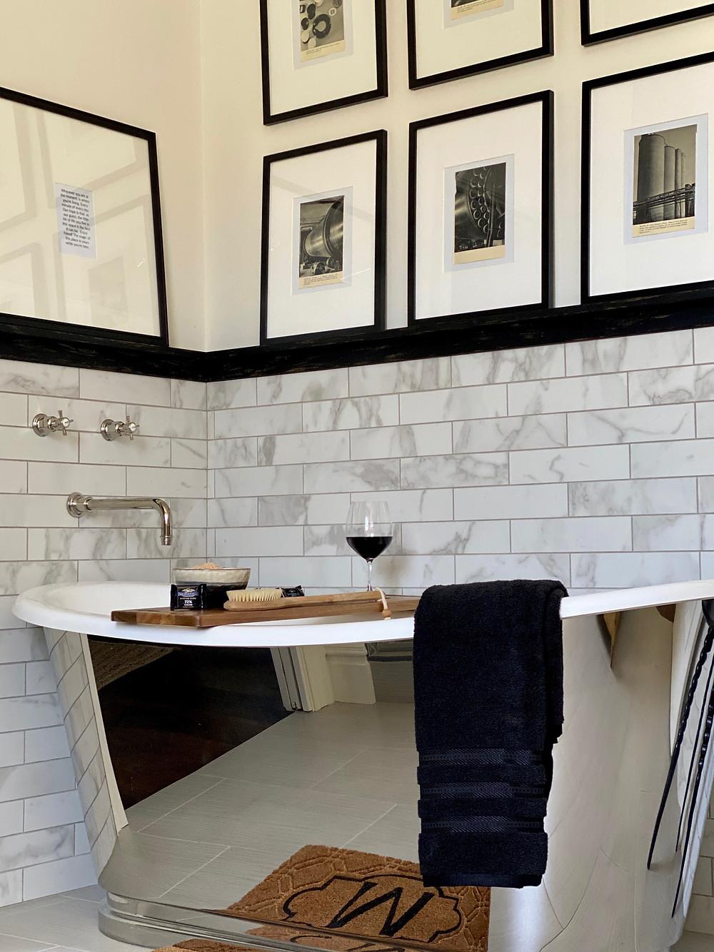 Stainless steel tub, black and white bathroom, spa bath, beautiful bathrooms