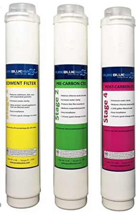 Pure blue H2o 4 stage Filters Kit Replacement Filters Cartridges