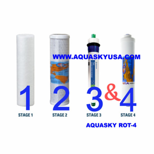 Aquasky rot-4 replacement filters - Set Of 4 Cartridges