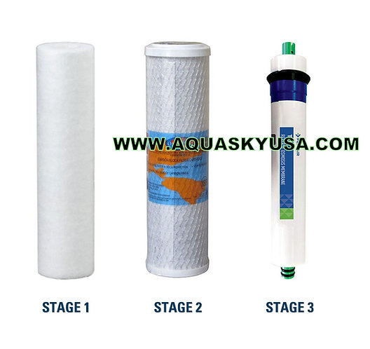 Pa-e Reverse Osmosis RO-132 Parts Replacement Cartridges & Membrane Set Of 3