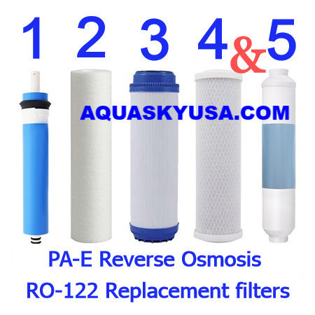 PA-E Reverse Osmosis RO-122 Replacement filters cartridges and membrane Set Of 5