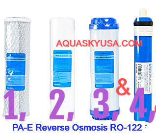 PA-E Reverse Osmosis RO-122 Replacement filters Cartridges And Membrane Set Of 4