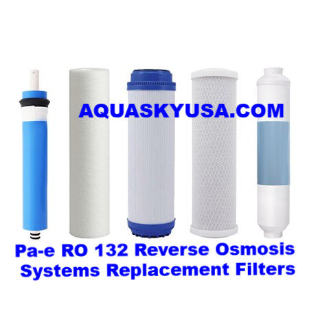 Pa-e Reverse Osmosis RO-132 Parts Replacement Cartridges & Membrane Set Of 5