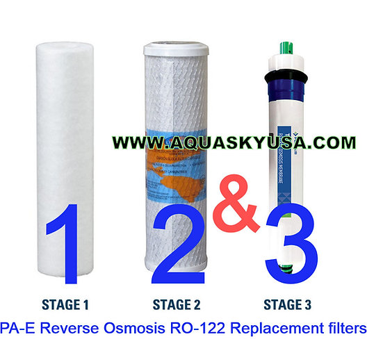 PA-E Reverse Osmosis RO-122 Replacement filters Cartridges And Membrane Set Of 3