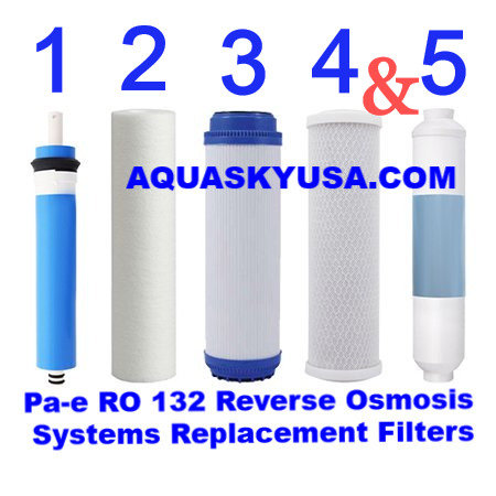 PA-E RO 132 Replacement filters cartridges and membrane Set Of 5