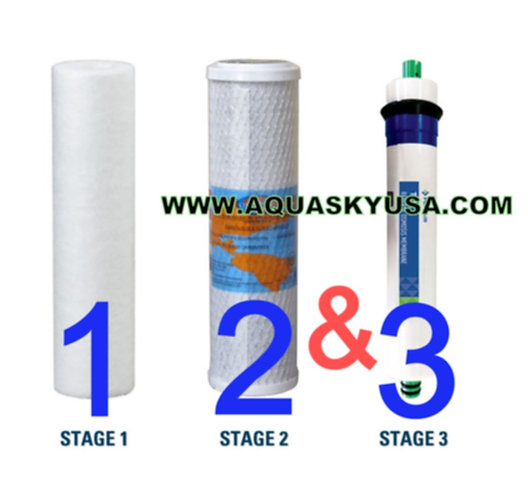 Aquasky rot-4 replacement filters - Set Of 3 Cartridges