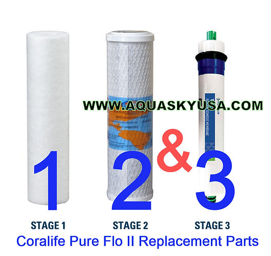 Coralife Pure Flo 2 Replacement Parts - Set Of 3 Filters
