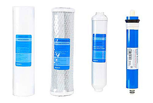 Universal 4 Stage Reverse Osmosis Replacement Filters - Set Of 4 Cartridges