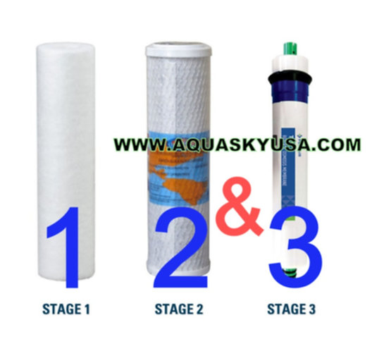PA-E RO-132 Replacement Filters - Cartridges And Membrane Set Of 3