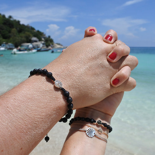 Silver lava couple bracelets