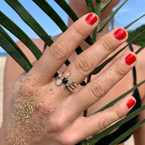 Sada 3 stříbrných prstenů DOUBLE DROP