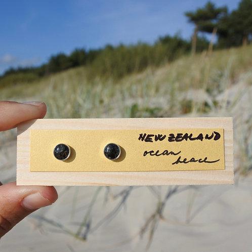 Nový Zéland - Ocean Beach / stříbrné naušnice