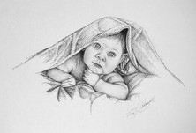 Baby and Blanket - Pen and Ink