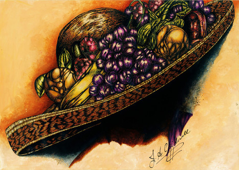 Hat with Fruit - colored ink and pen.jpg