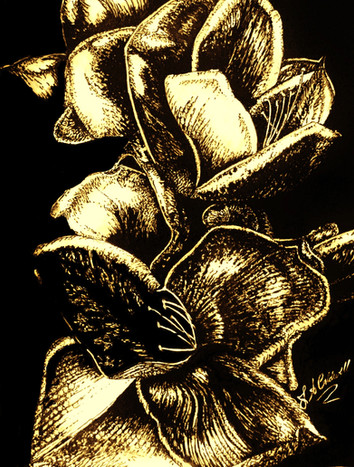 In Bloom - Gold -Mixed MediaJPG