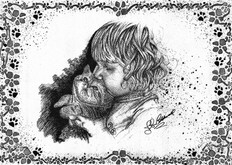 Girl & Kitten - B&W.jpg Pen & Ink