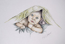 Baby and Blanket - Colored Ink and Pen