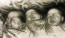 Three Babies -  Pencil