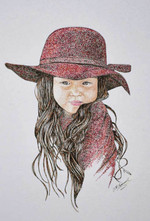 Girl in Red - CoIored Ink and  Pen