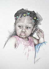 Little Miss - Colored Ink and Pen