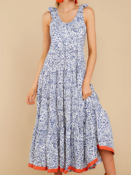 Tie Strap Flutter Maxi Dress
