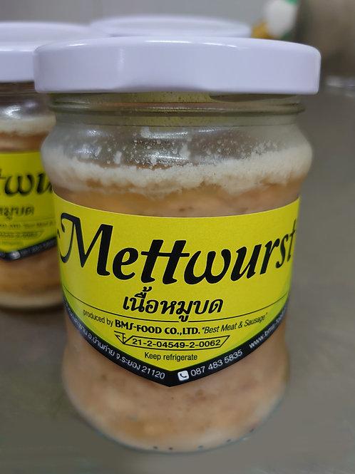 Homemade glass of Mettwurst