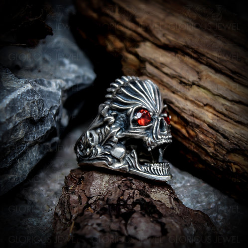 Sugar Skull ring, Biker ring, Skull and Bones, gothic rings victorian, Biker