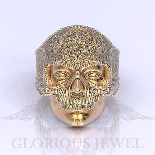 Mandala Mehndi Buddism India, Skull ring, Harley Davidson ring, Biker ring